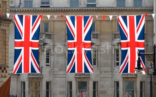 Három brit zászló zászlók London utca zászló Stock fotó © dutourdumonde
