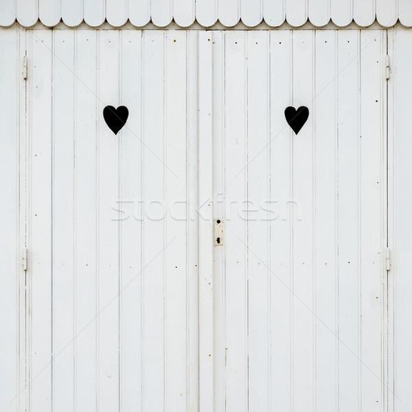 Twee harten witte detail houten Stockfoto © dutourdumonde