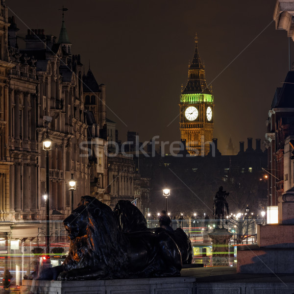 Elizabeth Tower seen from Trafalgar Square at night Stock photo © dutourdumonde