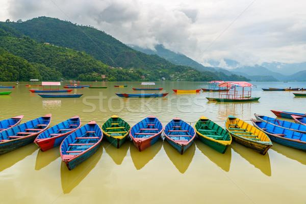 Küçük tekneler göl renkli su ahşap Stok fotoğraf © dutourdumonde