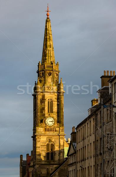 часы башни Эдинбург Шотландии Церкви закат Сток-фото © dutourdumonde