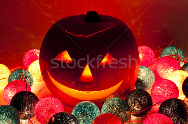 Halloween lanterna elettrici ghirlanda alimentare sorriso Foto d'archivio © dutourdumonde