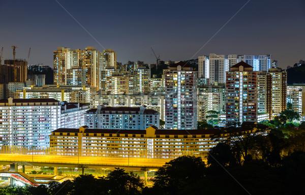 квартиру зданий Сингапур ночь здании город Сток-фото © dutourdumonde