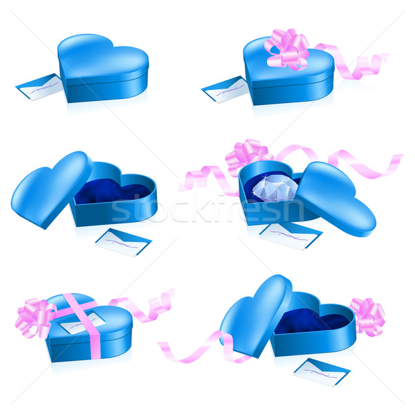Set of blue boxes in heart shape Stock photo © dvarg