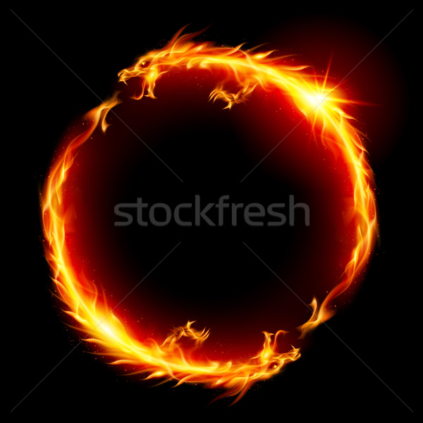 Stockfoto: Draken · ring · brand · draak · illustratie · witte