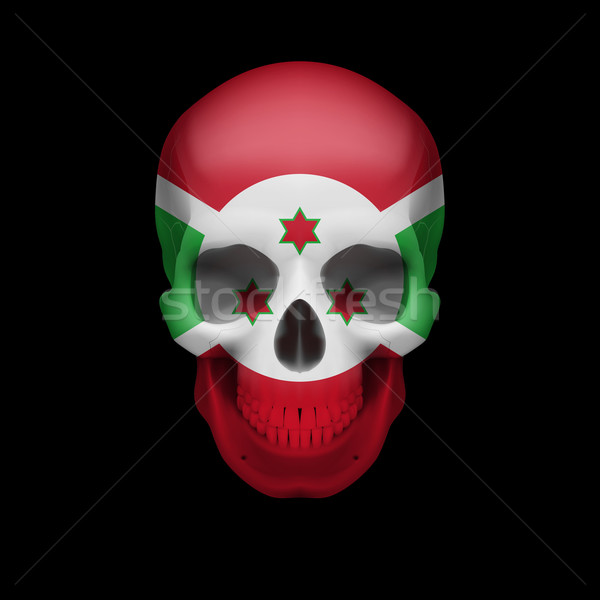 Burundian flag skull Stock photo © dvarg