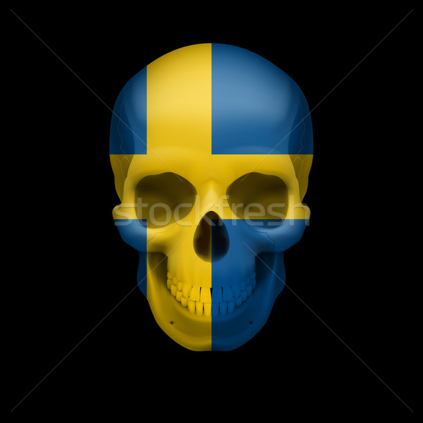 Swedish flag skull Stock photo © dvarg
