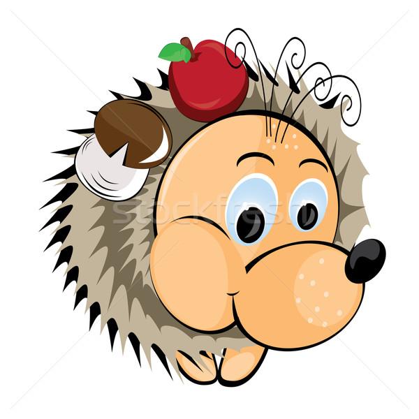 Stock photo: Hedgehog with apple and mushroom