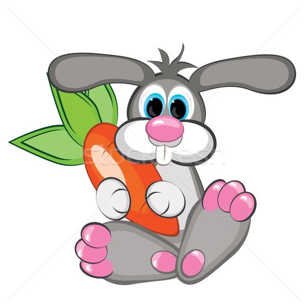 Rabbit with a giant carrot Stock photo © dvarg