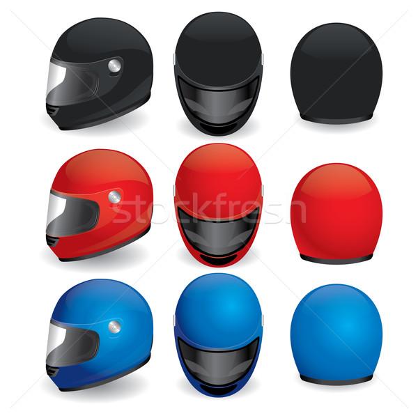 мотоцикл шлема черный красный синий набор Сток-фото © dvarg