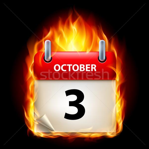 Foto stock: Ardente · calendário · terceiro · ícone · preto · papel