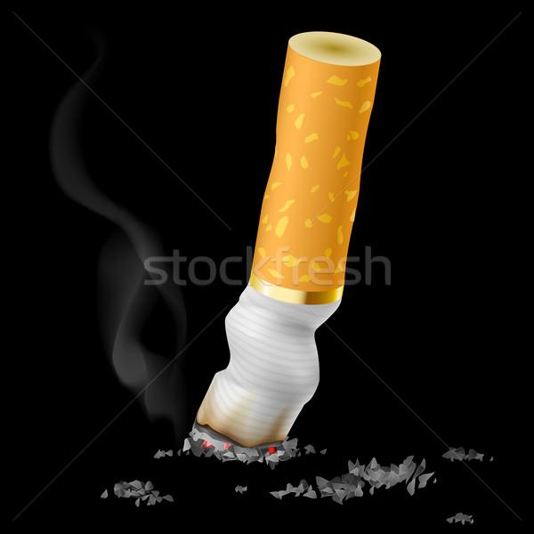 Gerçekçi sigara popo siyah arka plan imzalamak Stok fotoğraf © dvarg