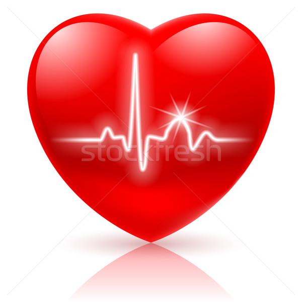 Heart with cardiogram. Stock photo © dvarg