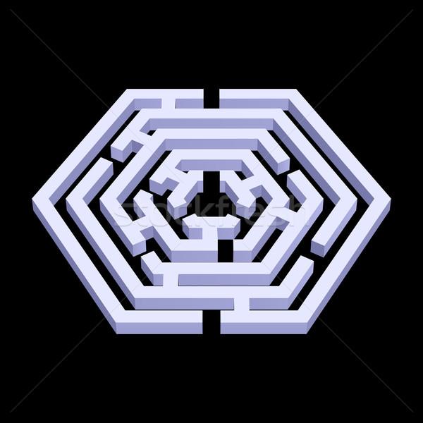 Labirintus fehér 3D hatszög forma fekete Stock fotó © dvarg