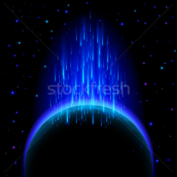 Dark planet with star shower Stock photo © dvarg
