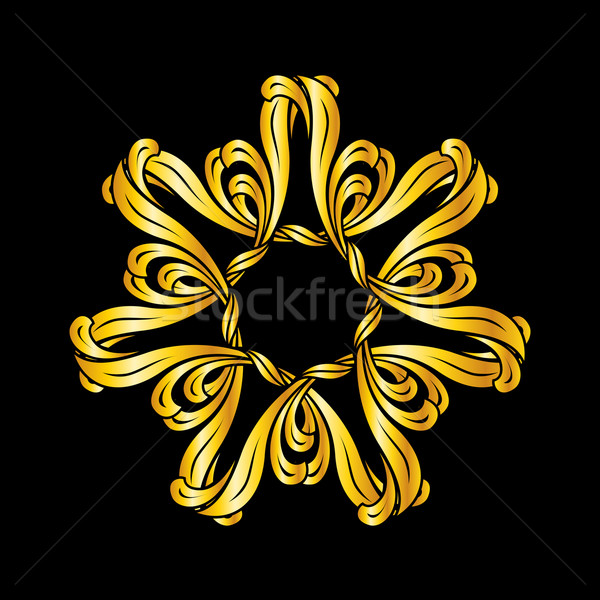 Zdjęcia stock: Kwiatowy · wzór · ilustracja · złoty · streszczenie