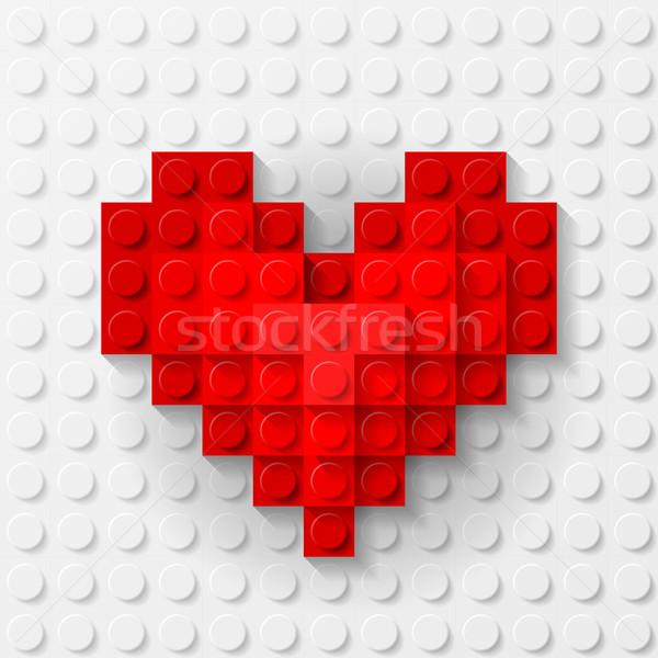 Red heart made of construction kit Stock photo © dvarg