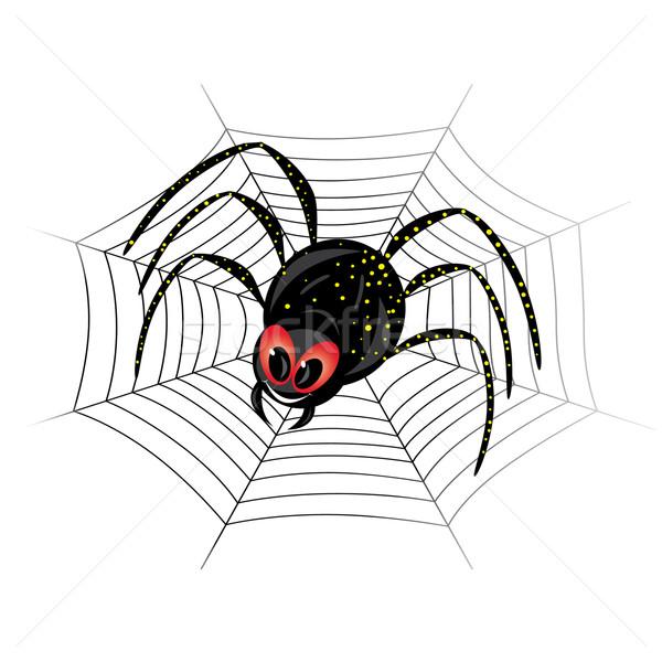 Cute паутину иллюстрация черный вдова улыбка Сток-фото © dvarg