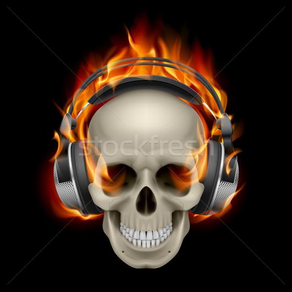 Stok fotoğraf: Yanan · kafatası · serin · örnek · kulaklık