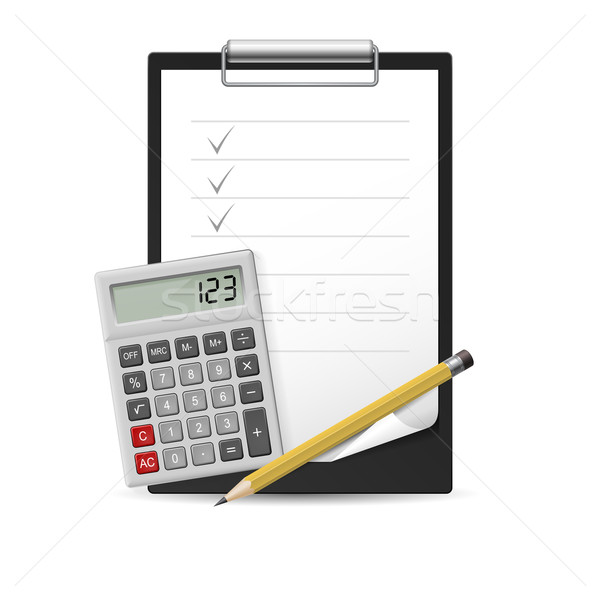 Pencil, calculator and notepad Stock photo © dvarg
