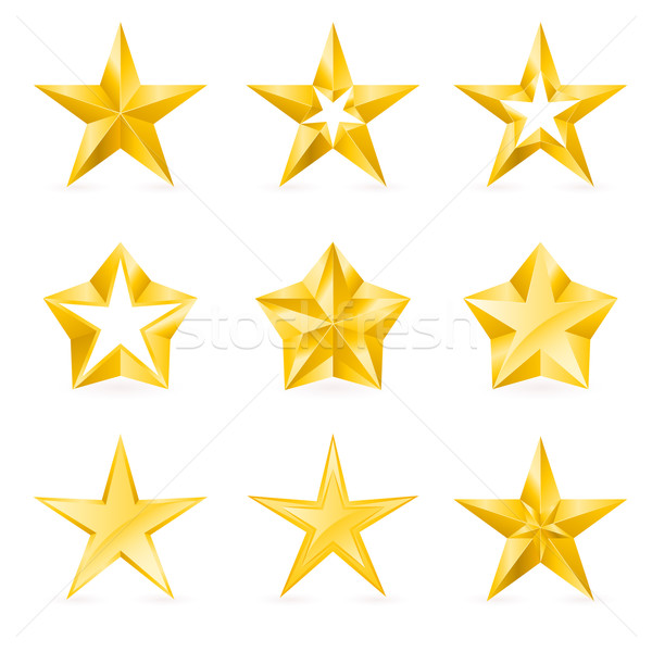 Different types and forms of gold stars Stock photo © dvarg