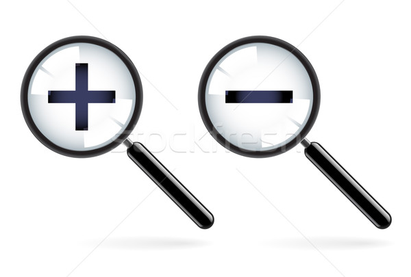 Monochromatic increase-decrease magnifiers icons Stock photo © dvarg