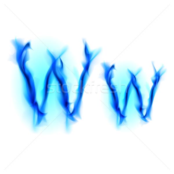 Tüzes betűtípus w betű kék illusztráció fekete Stock fotó © dvarg