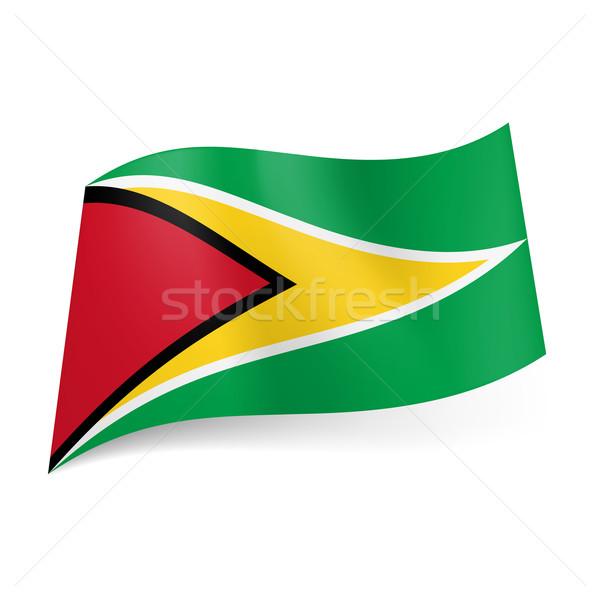Zászló Guyana fekete piros háromszög fehér Stock fotó © dvarg