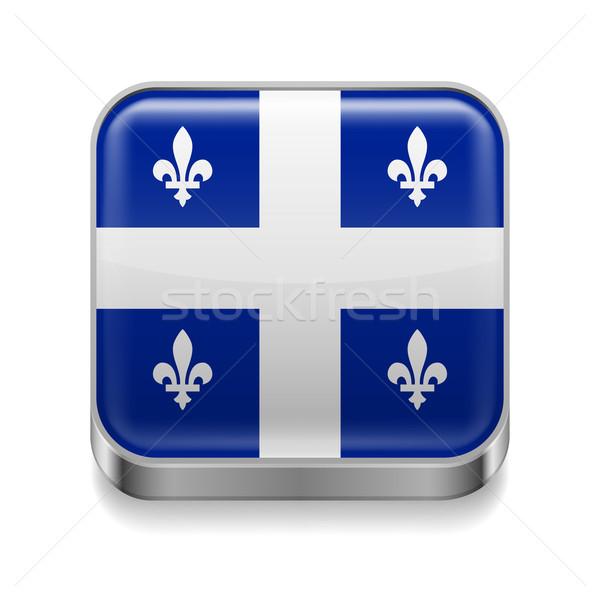 Metaal icon Quebec vierkante vlag kleuren Stockfoto © dvarg