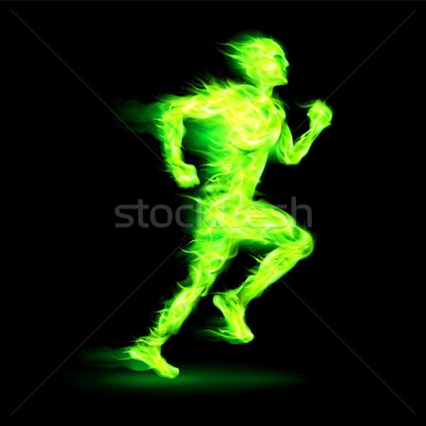 Yeşil ateşli çalışma adam hareket etki Stok fotoğraf © dvarg
