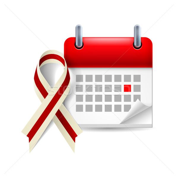 Burgundy and ivory awareness ribbon and calendar Stock photo © dvarg