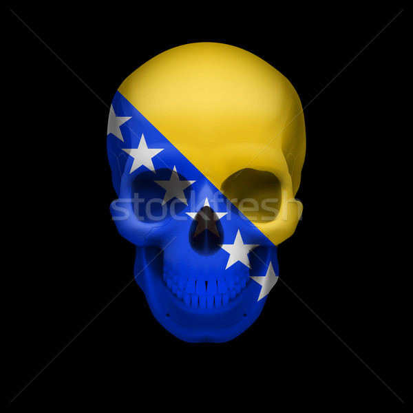 Stock photo: Skull with Bosnia and Herzegovina flag