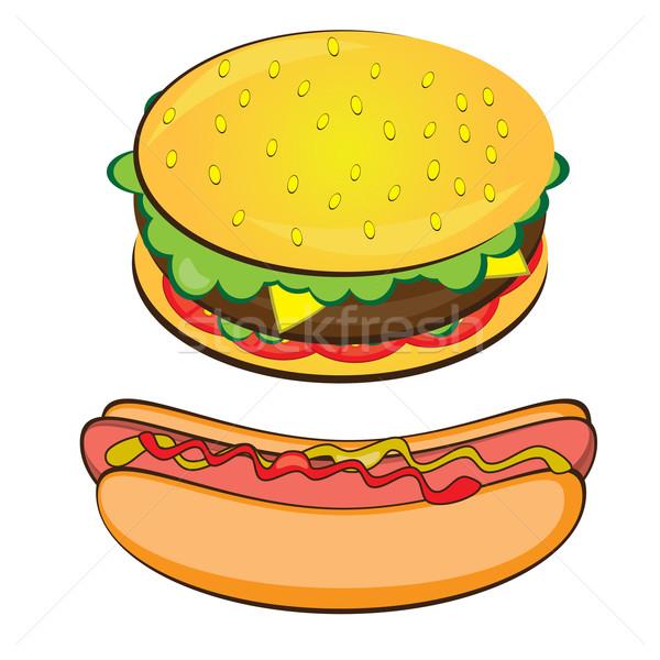 étvágygerjesztő hotdog szendvics fehér víz kutya Stock fotó © dvarg