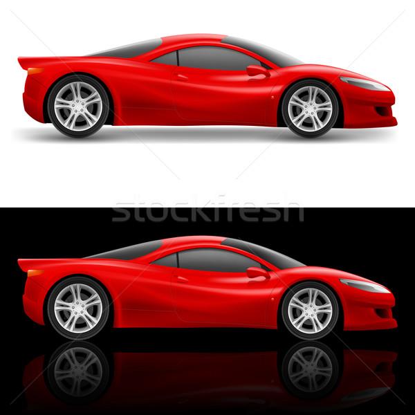 Kırmızı spor araba ikon örnek beyaz Stok fotoğraf © dvarg