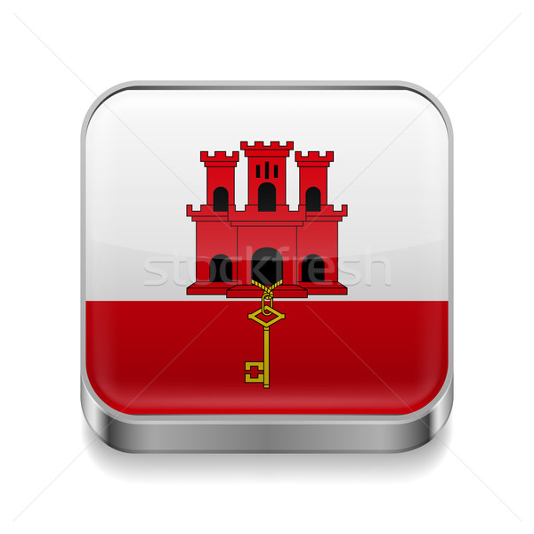 Metal ikona gibraltar placu banderą kolory Zdjęcia stock © dvarg