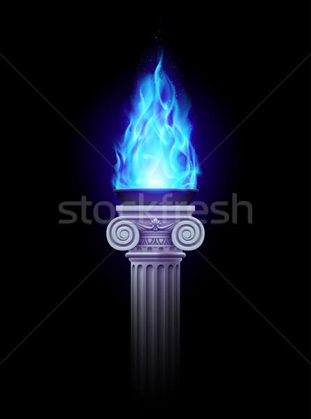 Oszlop kék tűz ősi sötétség misztikus Stock fotó © dvarg