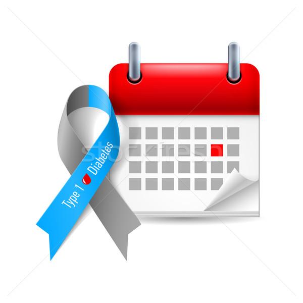 Diabète conscience ruban calendrier gris bleu Photo stock © dvarg