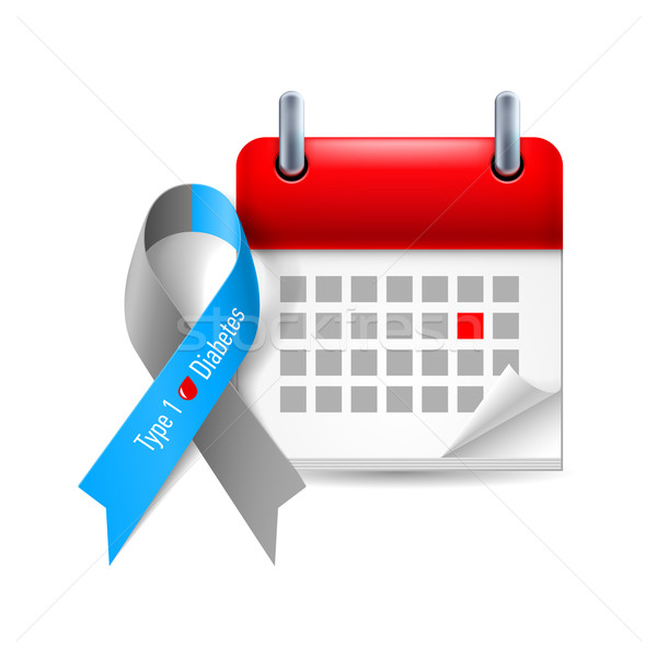 Suikerziekte bewustzijn lint kalender grijs Blauw Stockfoto © dvarg