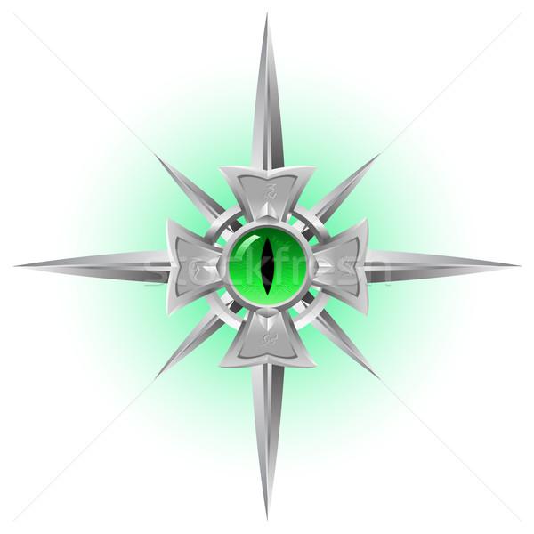 Amulett Drachen Auge grünen Illustration isoliert Stock foto © dvarg