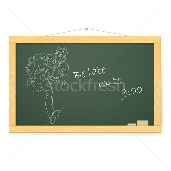 Blackboard zakenman lopen werk aktetas illustratie Stockfoto © dvarg