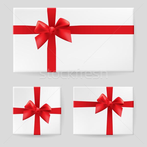 Piros ajándék íj illusztráció fehér terv Stock fotó © dvarg