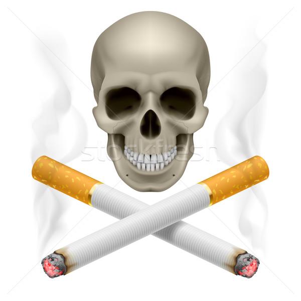 Crânio ardente cigarros símbolo fumador Foto stock © dvarg