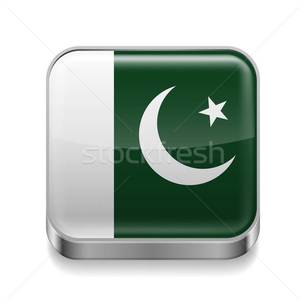 Metal ícone Paquistão praça paquistanês bandeira Foto stock © dvarg