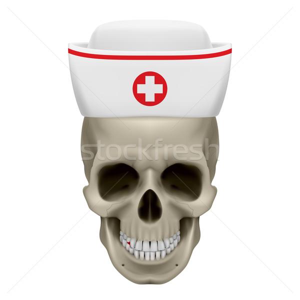 Skull in nurse cap Stock photo © dvarg