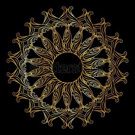 Złoty kwiatowy wzór złota Zdjęcia stock © dvarg