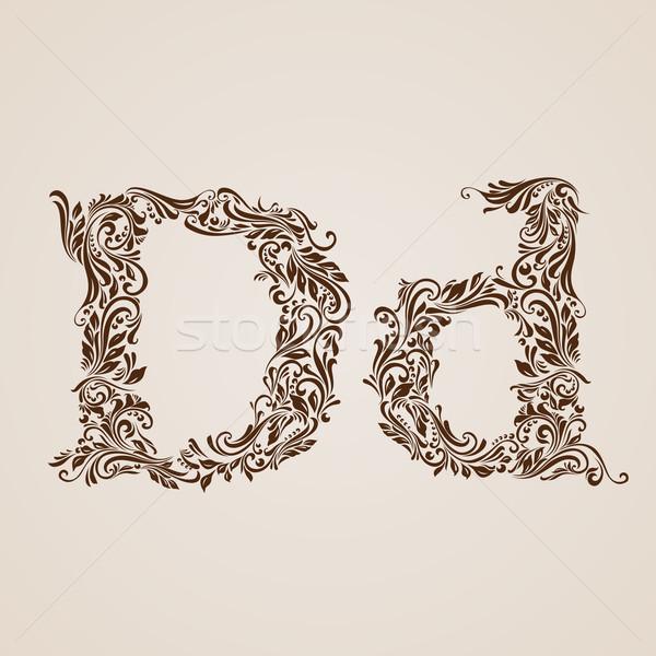 Díszített d betű alsó tok textúra levél Stock fotó © dvarg