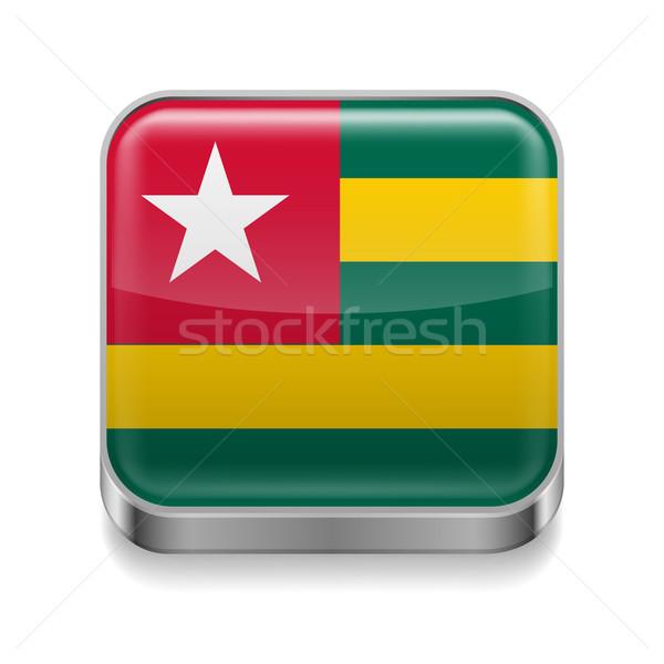 Metal icona Togo piazza bandiera colori Foto d'archivio © dvarg