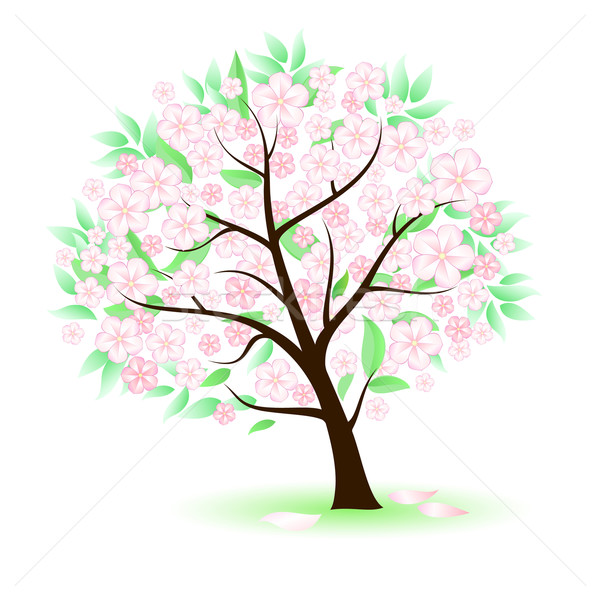 Stylisé arbre fleurs illustration blanche design Photo stock © dvarg