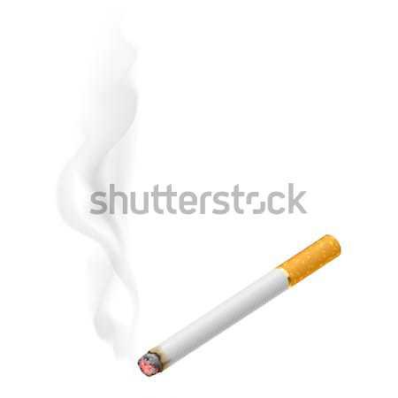 Сток-фото: реалистичный · сжигание · сигарету · иллюстрация · белый · огня