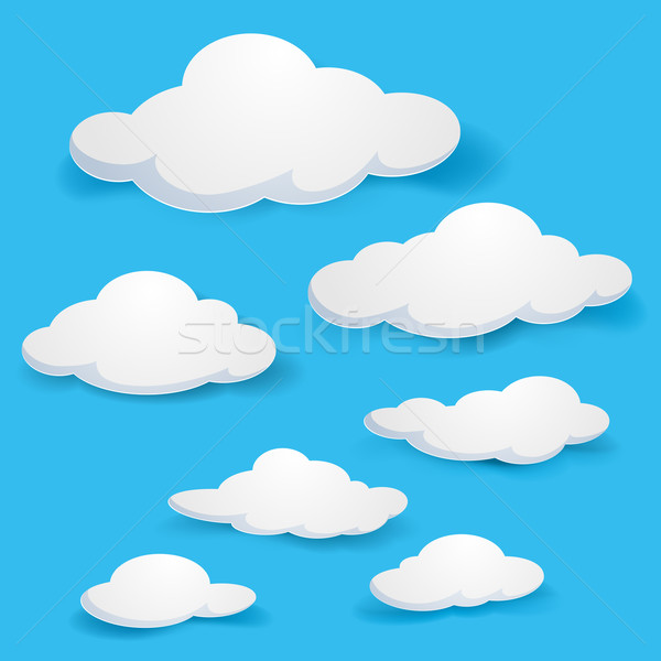 Nuages cartoon illustration bleu design papier Photo stock © dvarg